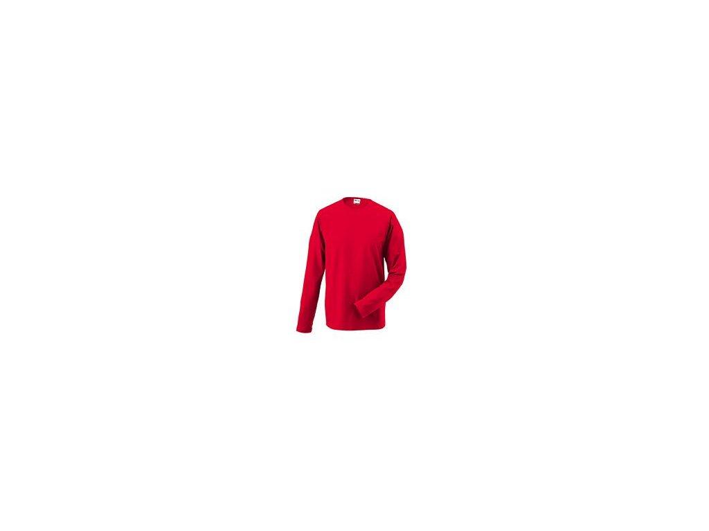 Velmi pěkné elegantní pánské triko s dlouhým rukávem a elastanem červená
