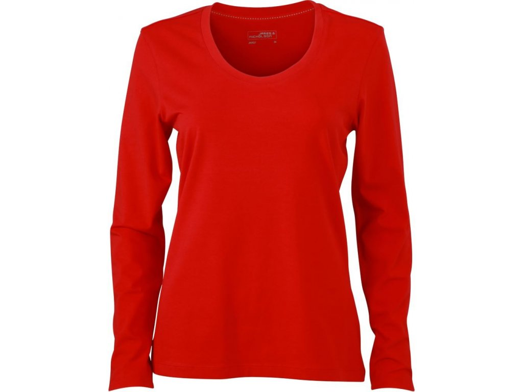 Velmi pěkné elastické dámské triko s dlouhými rukávy červená
