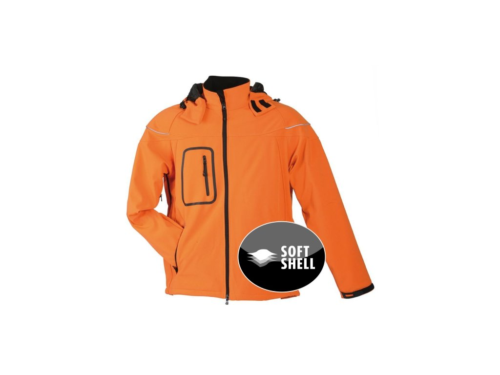 Zimní pánská 3-vrstvá softshellová bunda oranžová