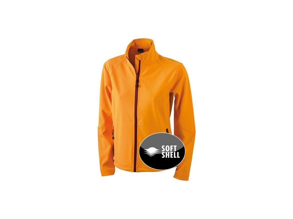 Dámská softshellová bunda z měkké, sportovní pružné textilie oranžová