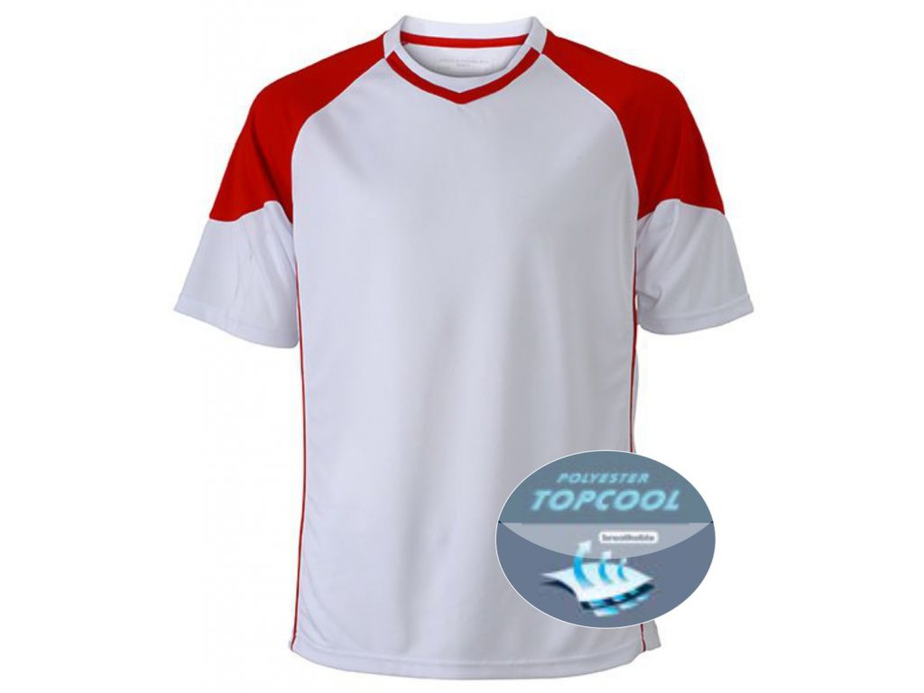 Funkční týmové tričko pro dospělé s materiálem topcool bílá červená