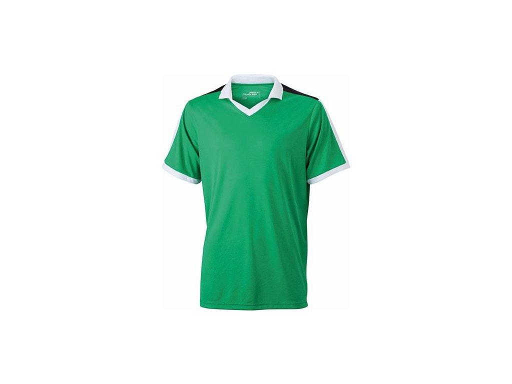 Pánské funkční týmové triko do V s materiálem TOPCOOL zelená