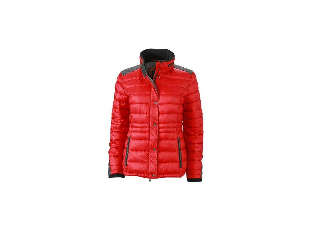 Dámská zimní zateplená bunda s filcovými detaily červená
