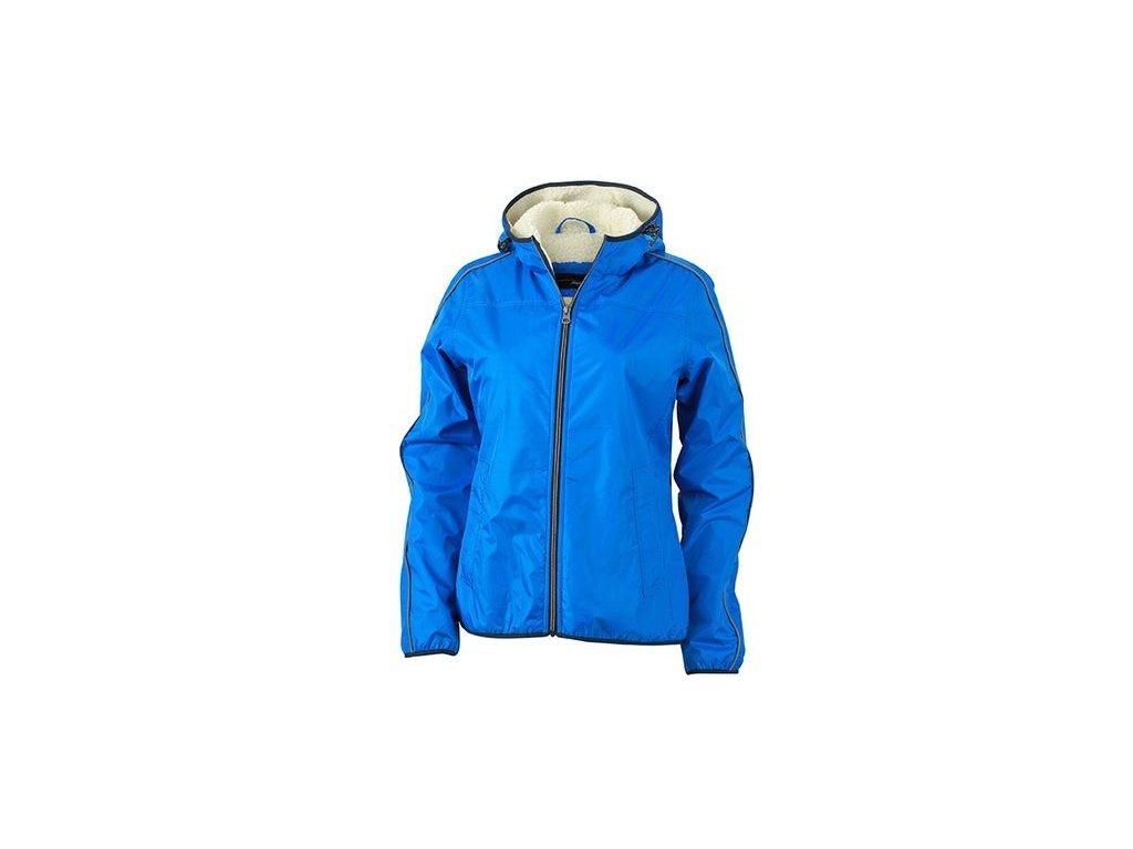 Sportovní zimní bunda pro volný čas s beránkem modrá
