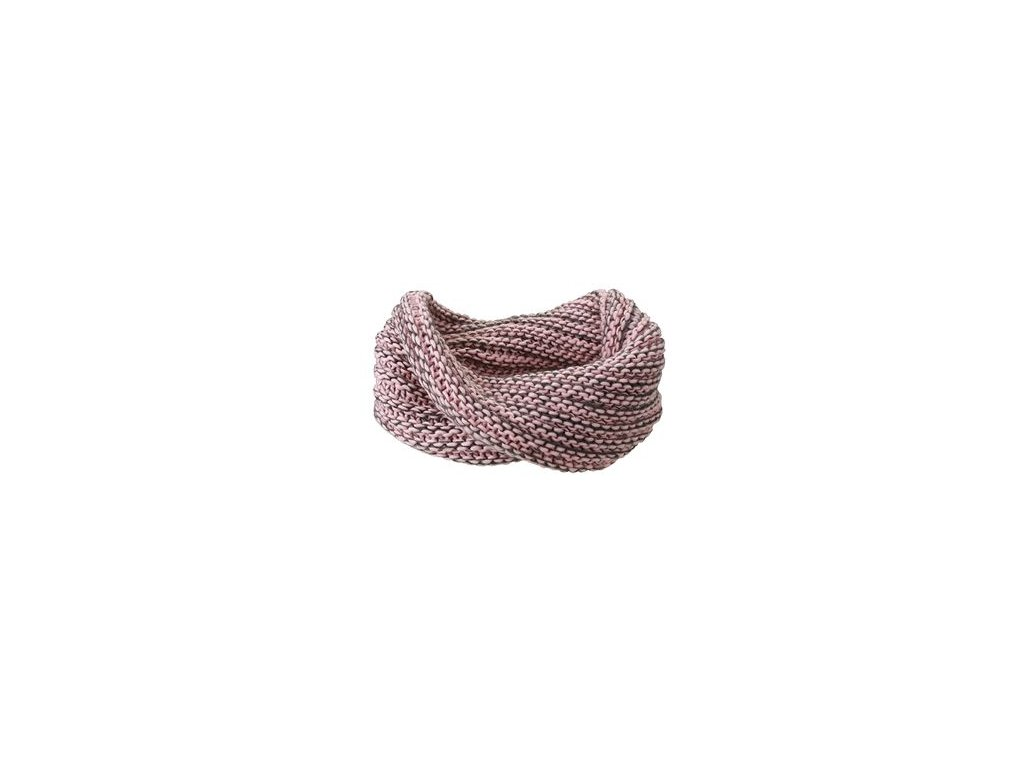 Zimní hrubě pletená šála twister růžová