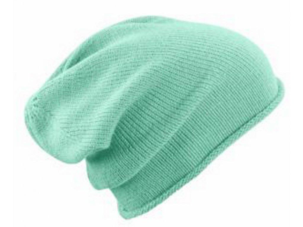 Neformální zimní čepice s rolovaným okrajem světle zelená