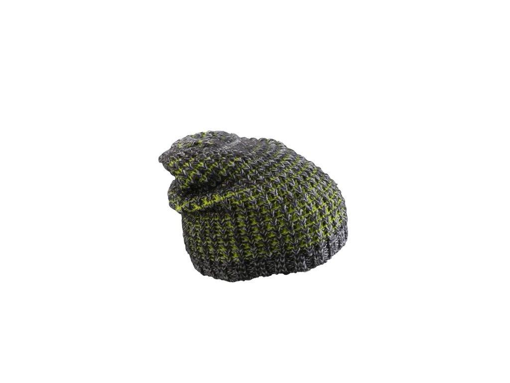 Hrubě pletená neformální čepice, kontrastní akcenty zelená