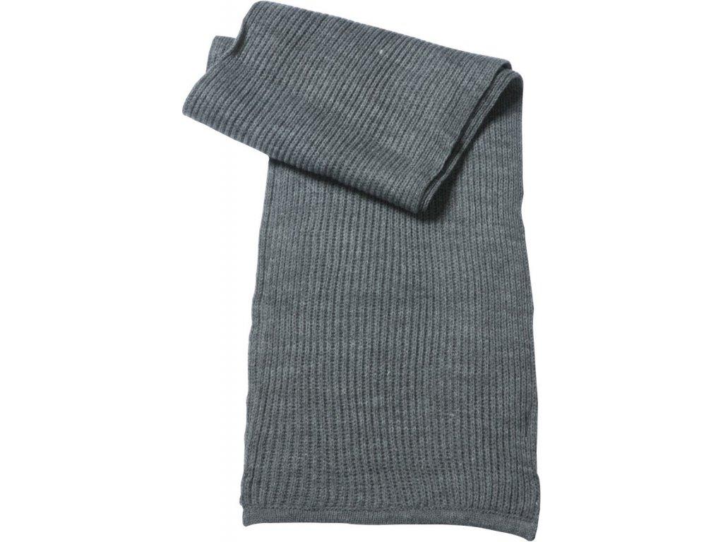 Hrubě pletená šála s lemy šedá