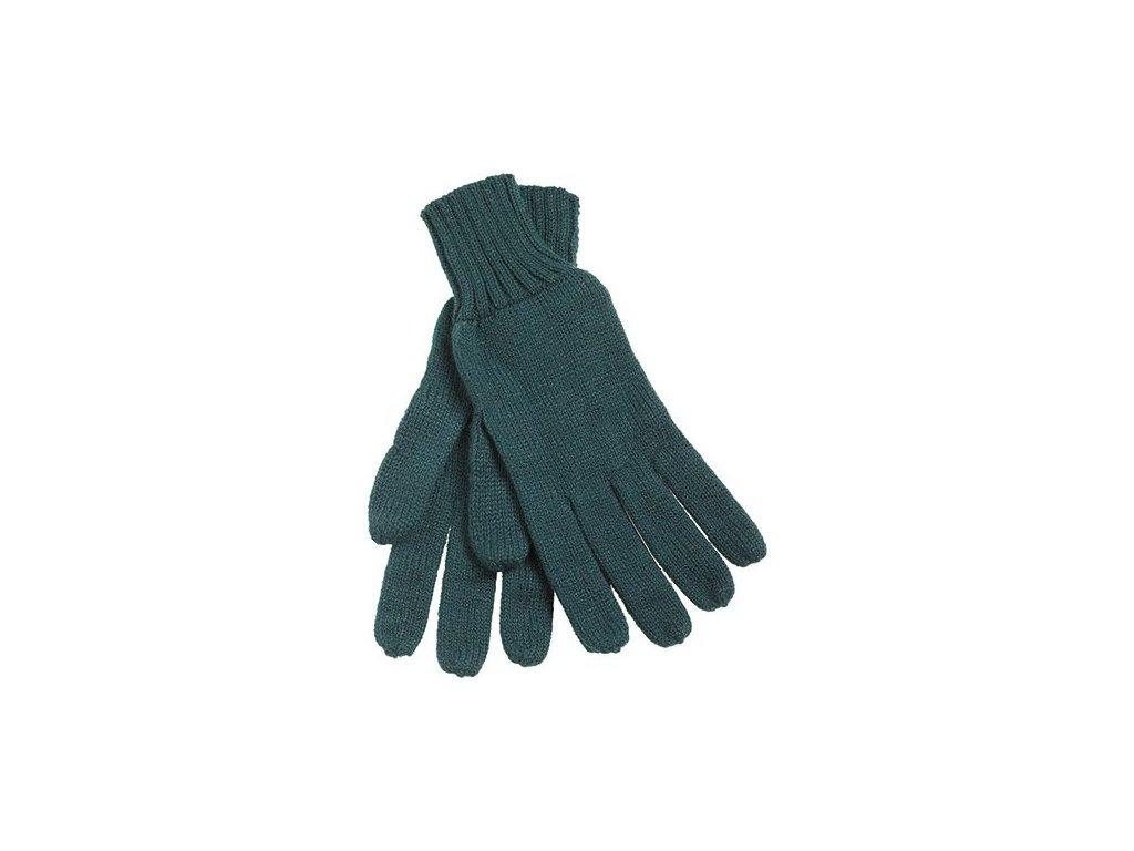 Pletené rukavice s žebrovanými lemy  zelená
