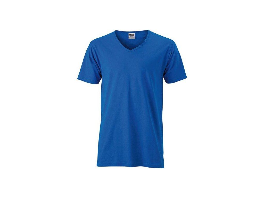 Módní zúžené pánské tričko s výstřihem do V modrá kobalt