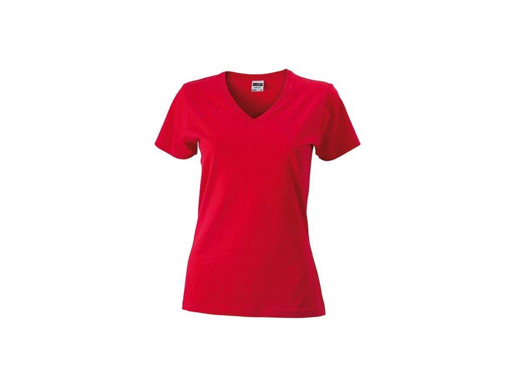 Dámské přiléhavé tričko s krátkým rukávem a s výstřihem do V červená