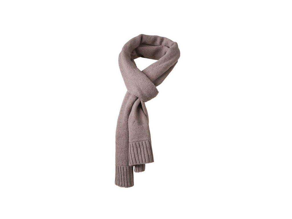 Klasická šála pletená z příze melange přírodní