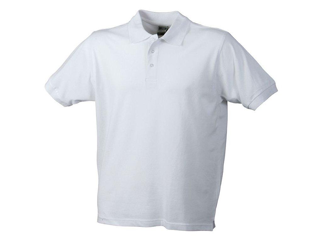 Odolné pánské pracovní klasické triko polo bílá