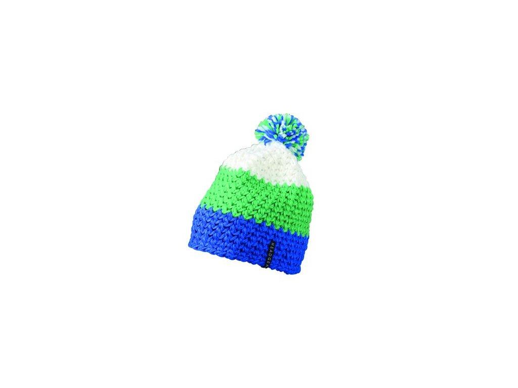 Trendy 3-barevná háčkovaná čepice s bambulí (kulich) modrá zelená