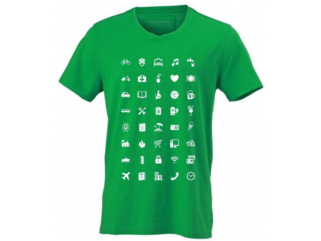 ... Pánské tričko pro cestovatele WORLD Urban s ikonami zelená ... c15544ec1e