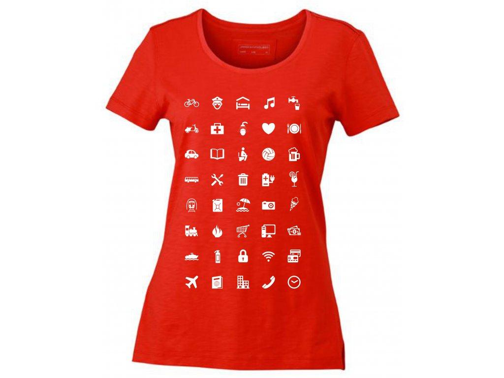 Dámské tričko pro cestovatele WORLD Urban s ikonami červená