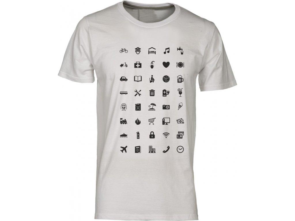 Tričko s cestovatelskými ikonami fashion royal · Tričko s cestovatelskými  ikonami fashion bílá ... 9cee08faf6