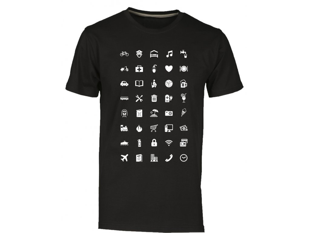 ... Tričko s cestovatelskými ikonami fashion černá ... bdfeba86e0