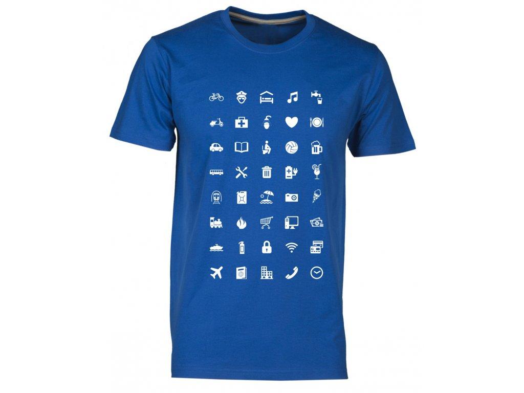 Tričko s cestovatelskými ikonami fashion royal