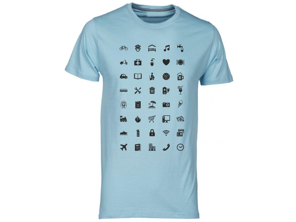 ... Tričko s cestovatelskými ikonami fashion modrá světlá ... b4f9bfa20e