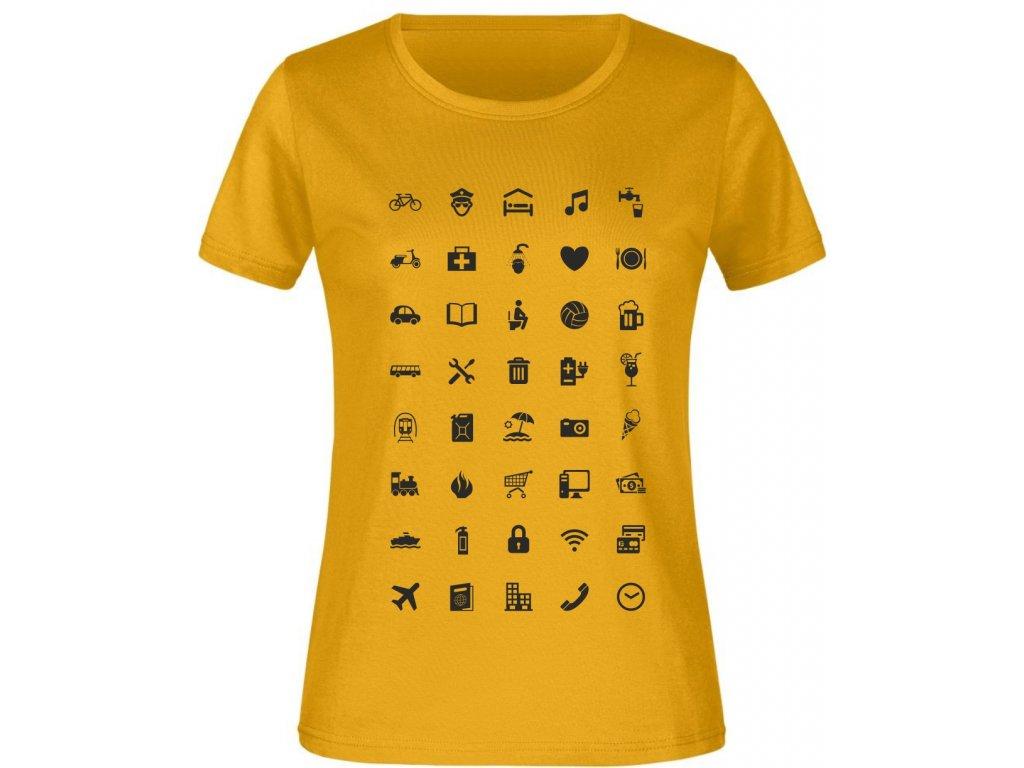Triko pro cestovatele damske fashion zluta