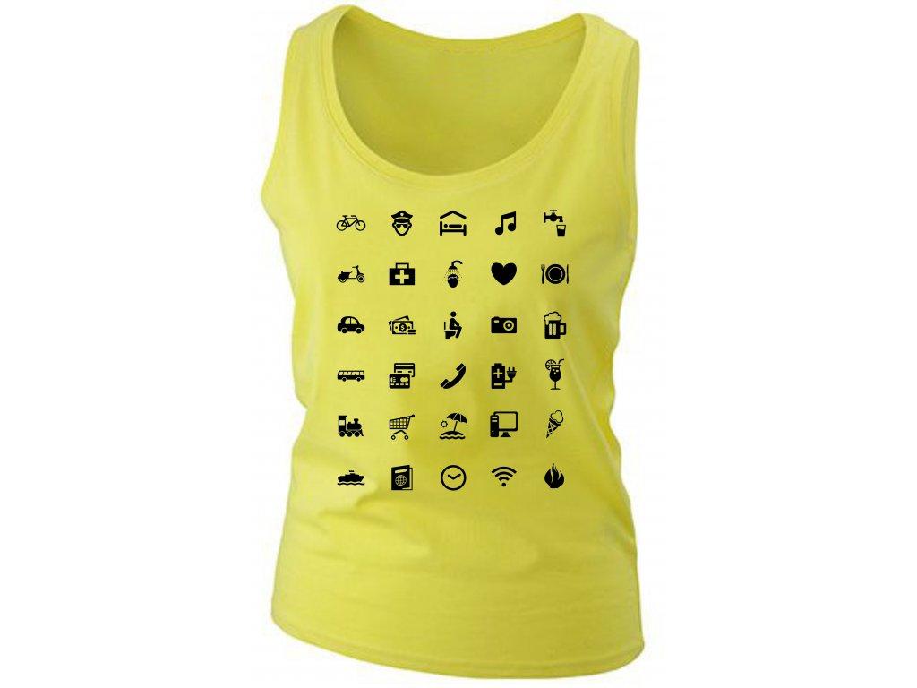 ... Dámské tílko pro cestovatele s ikonami žlutá b0fb9ee51c