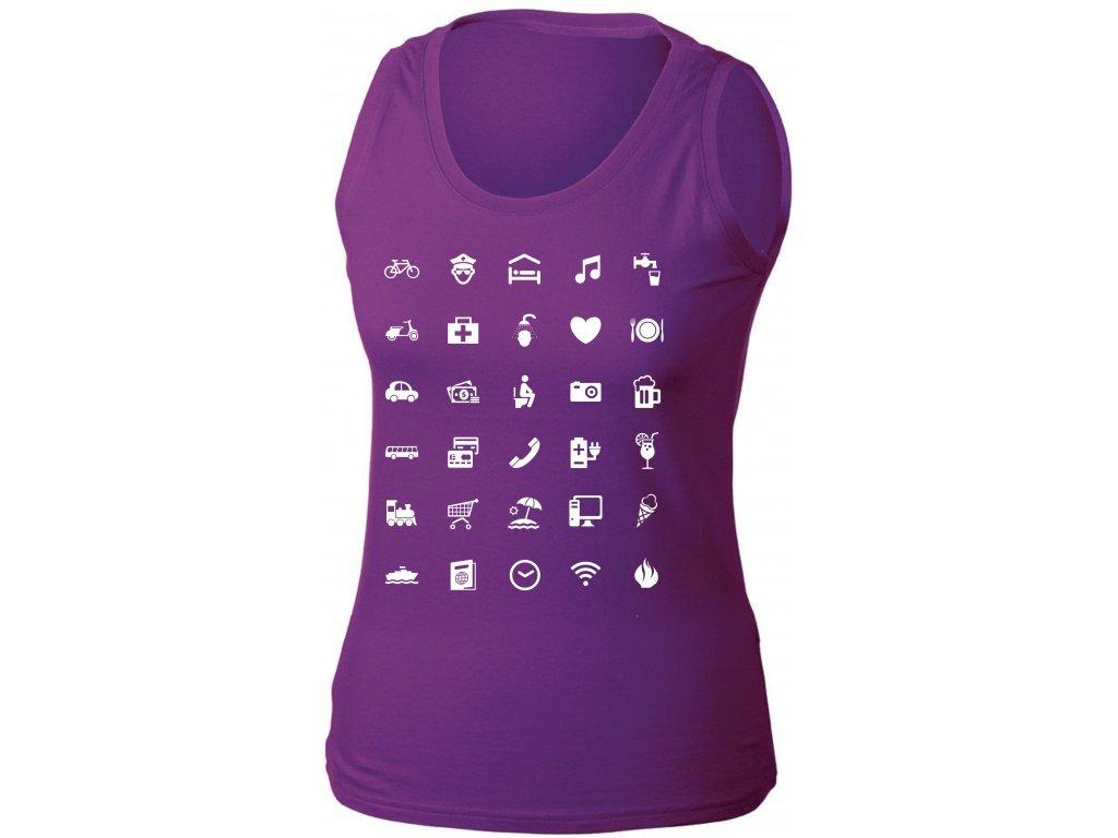 Tílko s cestovatelskými ikonami purple