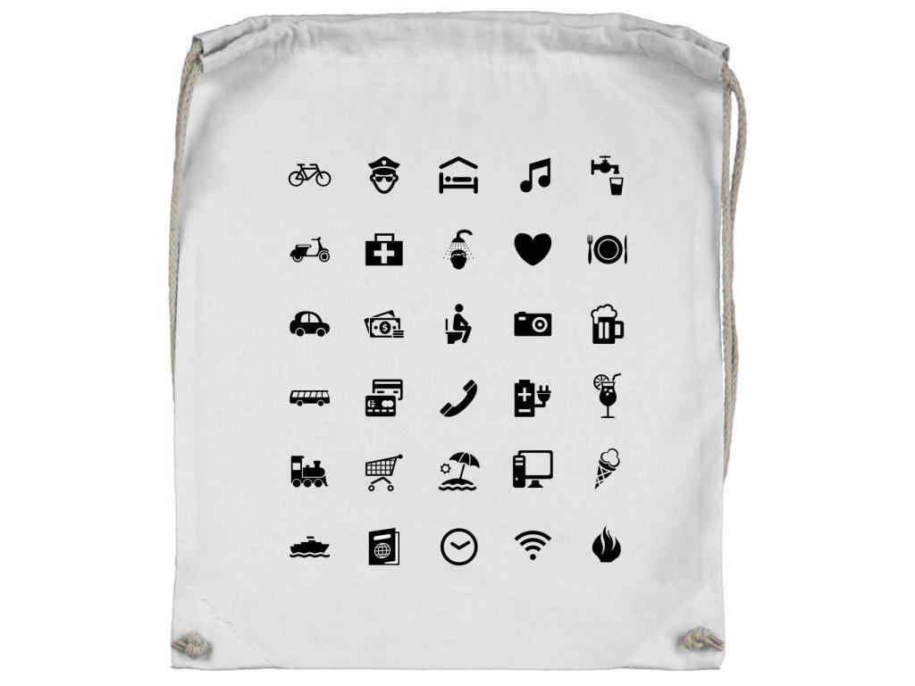 ... Vak na záda s ikonami WORLD bílá ... afefd83063