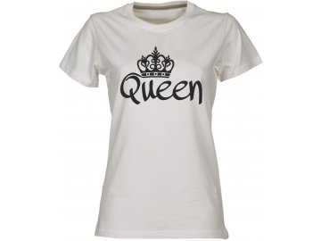 Dámské tričko s potiskem OUEEN pro páry bílá