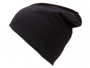 Módní slabší čepice z úpletu s přídavkem elastanu černá