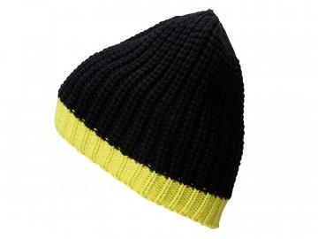 Pletená čepice s kontrastním lemem žlutá