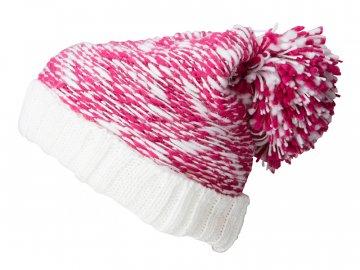 Senzační pletená čepice s extra velkou bambulí růžová