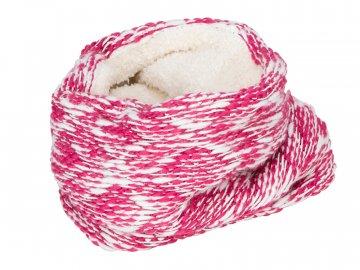 Zimní pletená šála bez konce s fleecem růžová