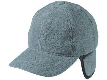 Teplá fleece čepice s kšilten a klapkami na uši šedá