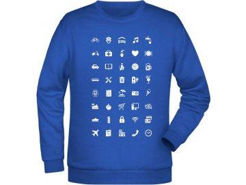 pánská mikina pro cestovatele s cestovatelskými ikonami modrá královská