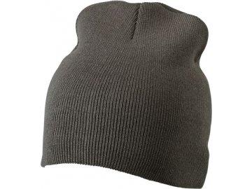 Dvojitě pletená těsně přiléhající čepice bez okraje šedá