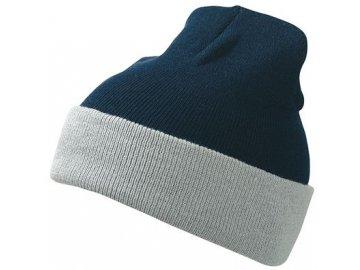 Dvojitě pletená klasická čepice s barevným okrajem modrá