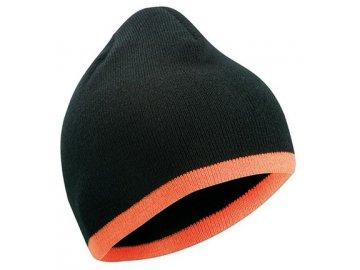 Dvojitě pletená těsně přiléhající čepice s kontrastním okrajem černá oranžová