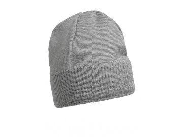 Pletená čepice s fleecovou podšívkou v oblasti čela šedá