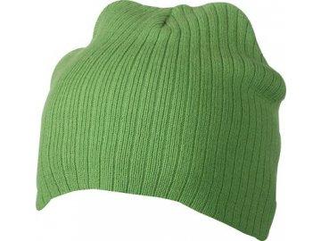 Dvojitě pletená čepice v žebrovaném vzhledu zelená