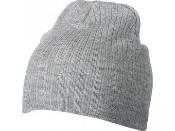 Dvojitě pletená čepice v žebrovaném vzhledu melír