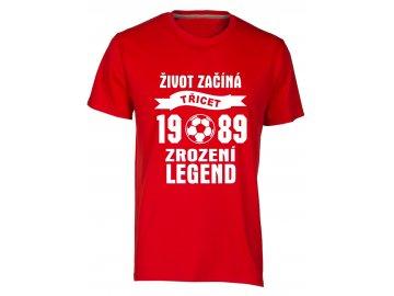 Tričko k 30 narozeninám s potiskem Život Začíná - třicet 1988 - Zrození Legend fotbal černá