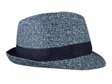 Letní klobouk v proutěném vzhledu modrá