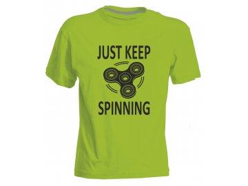 Dětské tričko s potiskem JUST KEEP SPINNINGg acid green