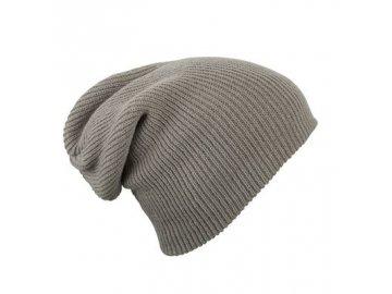 extra dlouhá dvojitě pletená čepice šedá