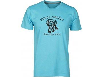 Pánské tričko s potiskem VŮDCE SMEČKY labrador přede mnou modrá atol