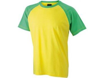 Pánská tričko Raglan-T (Barva Žlutá - Zelená, Velikost oděvů XXL)