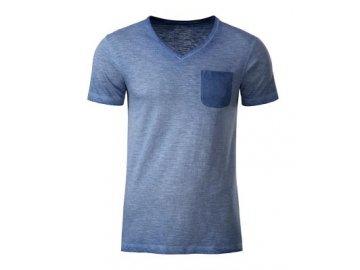 Pánské tričko z Bio Bavlny ve vintage vzhledu modrá denim