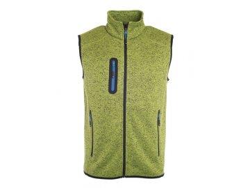 Módní pánská vesta z pleteného fleecu v melírovaném vzhledu kiwi