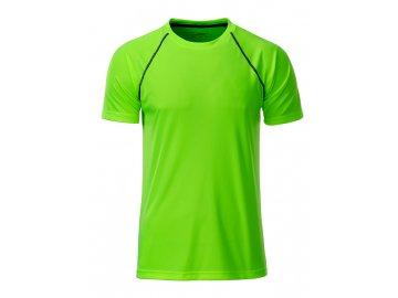 Pánské běžecké triko s reflexními prvky brightgreen